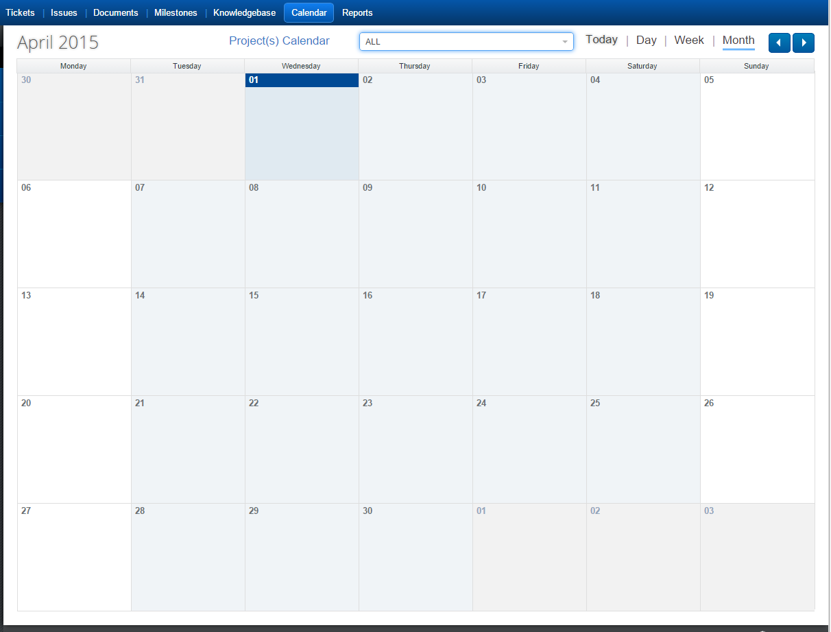 Manage Projects Calendar