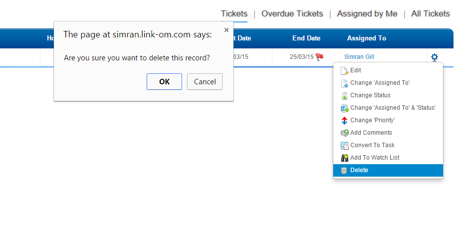 Ticket Delete Confirm